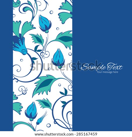 Vector Blue Green Swirly Flowers Vertical Frame Seamless Pattern Background - stock vector