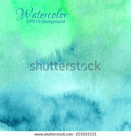 Vector blue green turquoise abstract hand drawn watercolor background. - stock vector