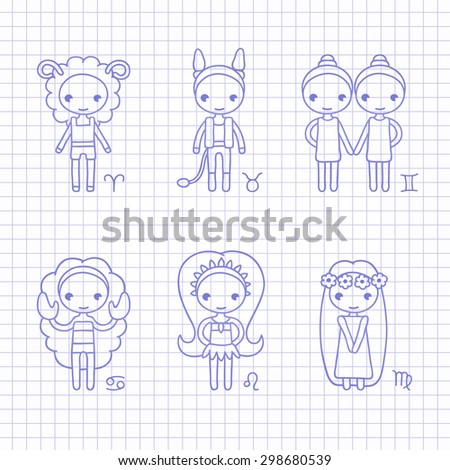 vector blue hand drawing zodiac signs Aries, Taurus, Gemini, Cancer, Leo, Virgo - stock vector