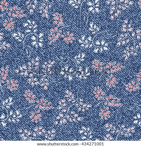 Vector Blue Jeans background with leaves. Denim cloth seamless pattern