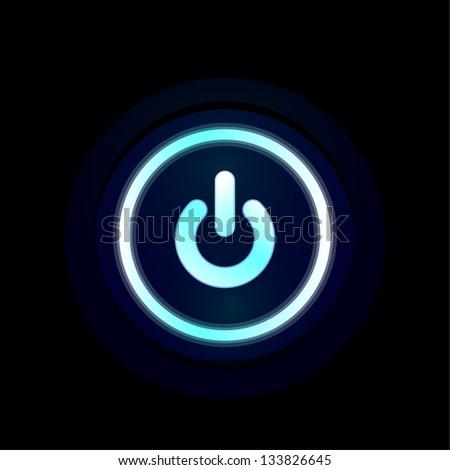 Vector blue LED power button design - stock vector