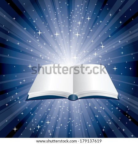 vector blue magic book on starry night - stock vector