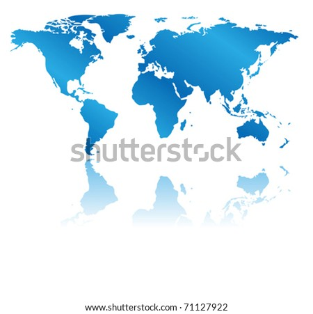 vector blue map of the world with reflection. Eps 8. - stock vector