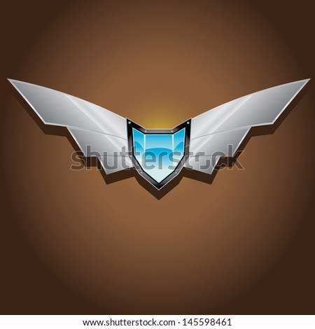 Vector blue metallic automotive, motorcycle badge with wings. Signs and labels. - stock vector