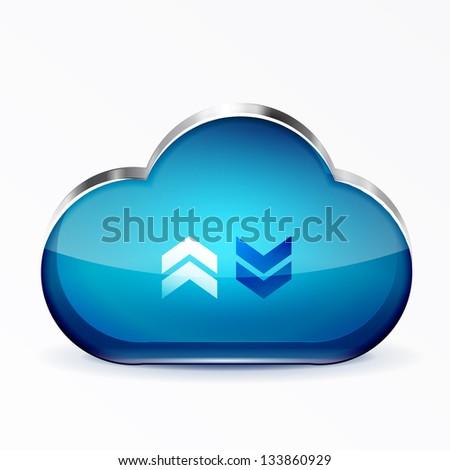 Vector blue modern 3d glass cloud icon - stock vector