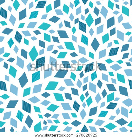 Vector blue mosaic texture seamless pattern background - stock vector