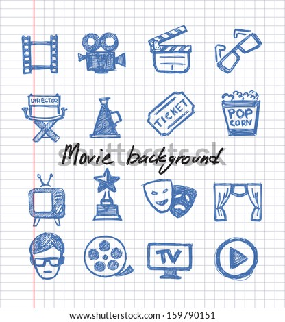 vector blue movie icon set on white paper - stock vector