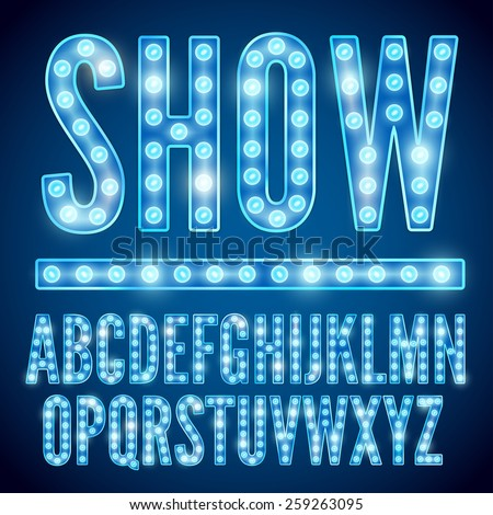 Vector blue neon lamp cinema font - stock vector