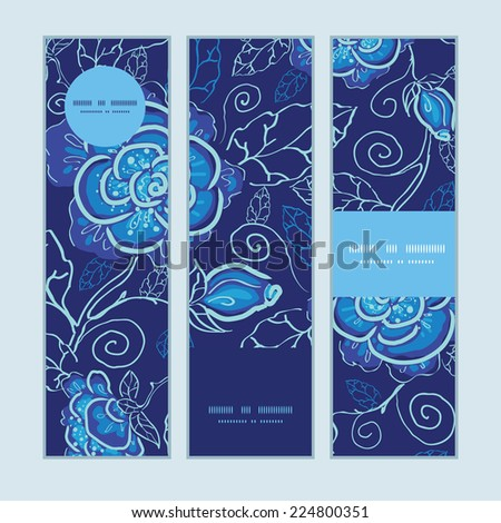 Vector blue night flowers vertical banners set pattern background