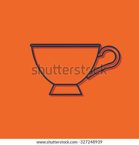 Vector blue outline cup for tea or coffee icon on orange background with shadow