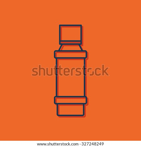 Vector blue outline flavoring bottle on orange background with shadow . Kitchen icon