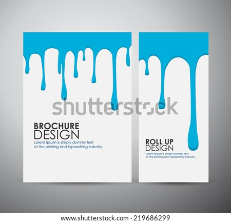 Vector blue paint drips on brochure business design template or roll up.  - stock vector