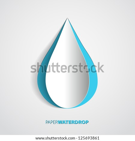 Vector blue paper water drop card design - stock vector