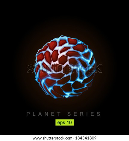 Vector blue planet with rivers of lava - stock vector