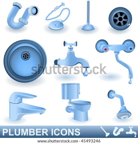 Vector blue plumber icons set - stock vector