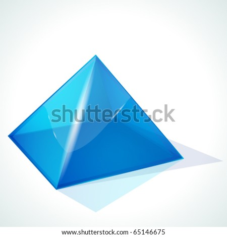 Vector blue pyramid on white background - stock vector