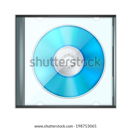 Vector Blue Realistic CD Disk in Box - stock vector