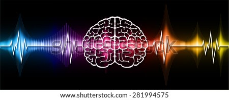 vector blue red yellow brain processes technology, creative idea concept. wave. ecg, ekg, electrocardiogram. - stock vector