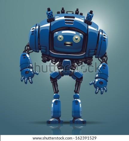 Vector blue robot - stock vector