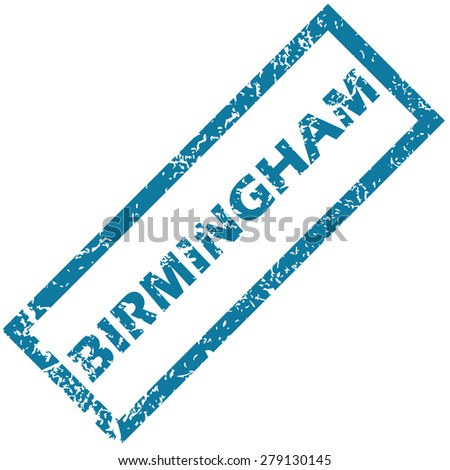 Vector blue rubber stamp with city name Birmingham, isolated on white