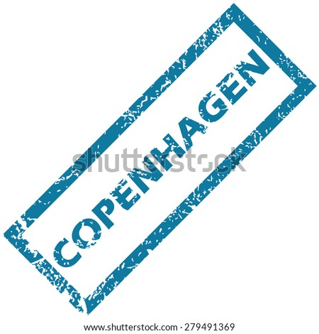 Vector blue rubber stamp with city name Copenhagen, isolated on white