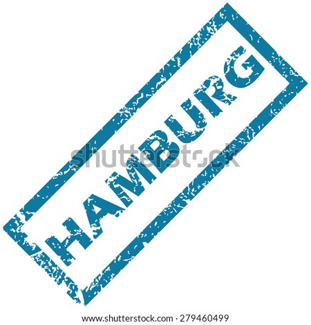 Vector blue rubber stamp with city name Hamburg, isolated on white