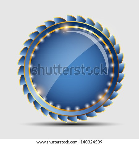 Vector blue sign, label template - stock vector