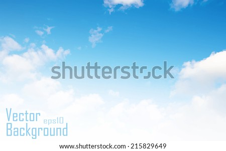 Vector blue sky background with tiny clouds - stock vector