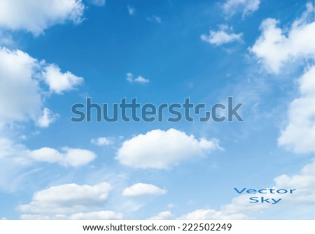 Vector blue sky with clouds - stock vector
