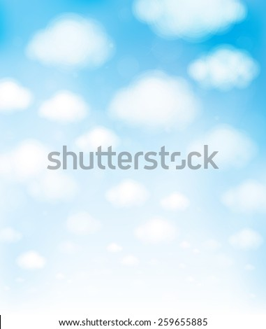 Vector blue sky with clouds. - stock vector