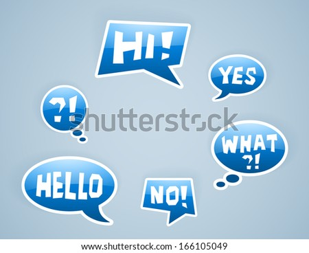 vector blue speech bubbles with some signs