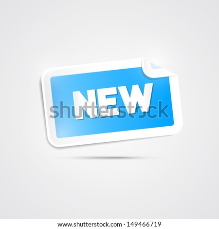 Vector Blue Sticker with New Title on Grey Background