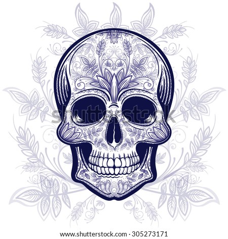 Vector Blue Tattoo Skull Illustration with Floral background - stock vector