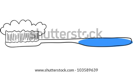 Vector blue toothbrush is isolated on a white background