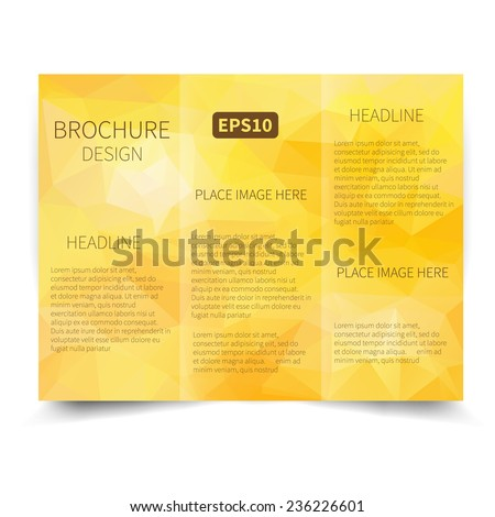 Vector blue tri-fold brochure design template with abstract geometric background EPS10 Tri-Fold Mock up & back Brochure Design - stock vector