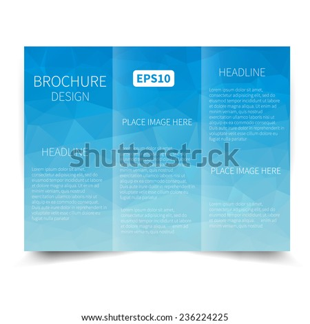 Vector blue tri-fold brochure design template with abstract geometric background. Tri-Fold Mock up & back Brochure Design with triangles. Vector design illustration EPS10 - stock vector