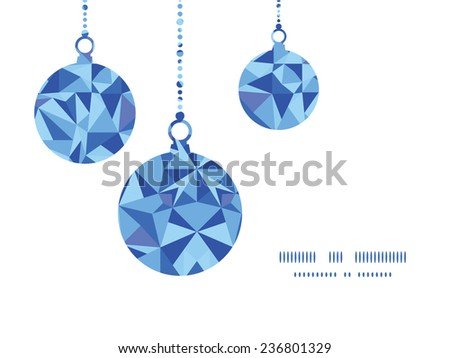 Vector blue triangle texture Christmas ornaments silhouettes pattern frame card template - stock vector