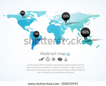 Vector blue triangle world map with tags, points and destinations with icons airplane, sun, cloud, anchor, compass, travel concept - stock vector