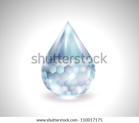 vector blue water drop gemstone - stock vector