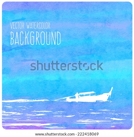 Vector blue watercolor background with a Thai boat motoring in the waves - stock vector