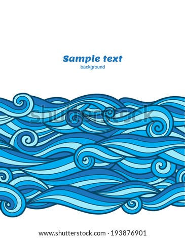 Vector blue waves pattern card background - stock vector