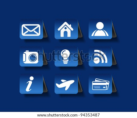 vector blue web navigation icons element. - stock vector