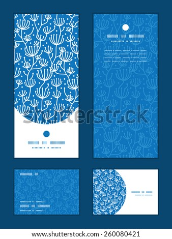 Vector blue white lineart plants vertical frame pattern invitation greeting, RSVP and thank you cards set - stock vector