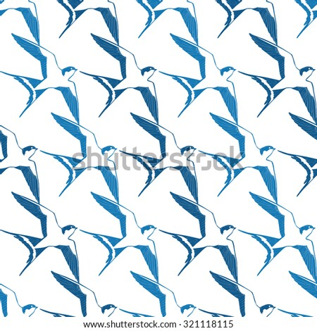 Vector Blue White Swallows Birds Geometric Seamless Pattern - stock vector