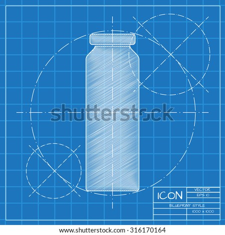 Vector blueprint bottle juice template on stock vector 316170164 vector blueprint bottle with juice template on engineer or architect background malvernweather Image collections