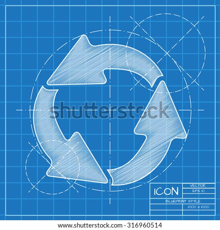 Vector blueprint circle round arrows business stock vector 316960514 vector blueprint circle round arrows for business diagram on engineer or architect background malvernweather Images
