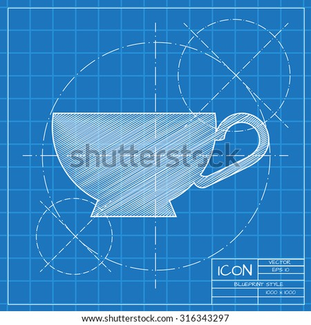 Vector blueprint cup tea coffee icon stock photo photo vector vector blueprint cup for tea or coffee icon on engineer or architect background malvernweather Images