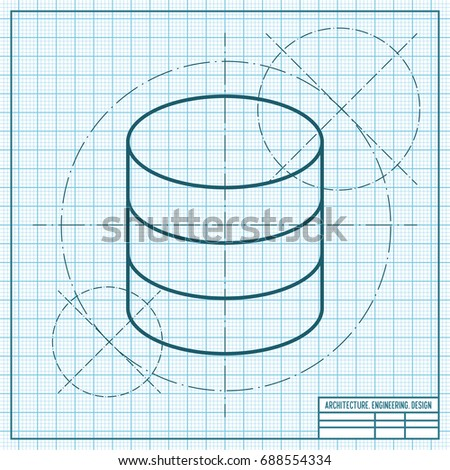 Vector blueprint database icon on engineer stock vector royalty vector blueprint database icon on engineer and architect background business collection malvernweather Image collections