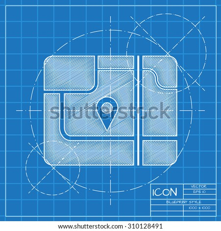 Vector blueprint map icon. Engineer and architect background.  - stock vector