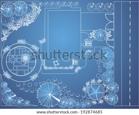 Vector blueprint of landscape architectural project, garden plan with tree symbols - stock vector
